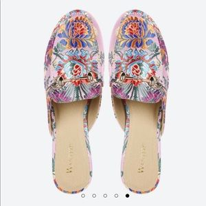 Wanted Festival Mule Loafers Pink Silk Size 8.5